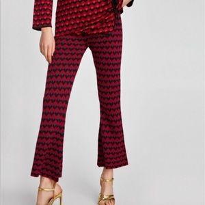 NEw Zara Knit Bell Bottoms Print Shimmer Pants